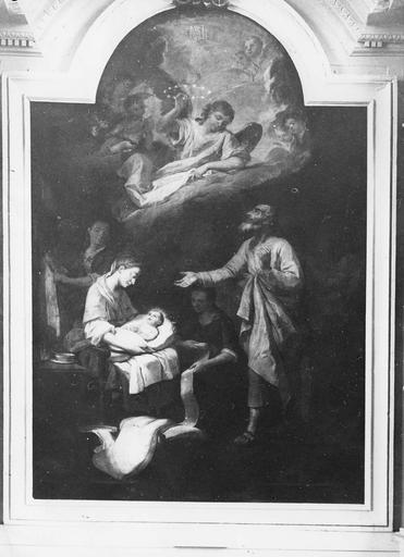 tableau : Nativité de la Vierge, huile sur toile, 18e siècle