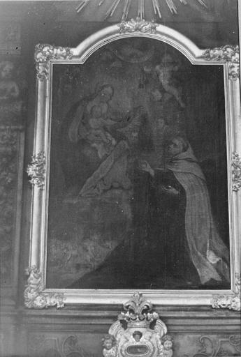 tableau : Vierge à l'Enfant au scapulaire, huile sur toile, 18e siècle