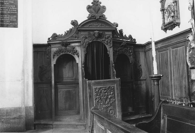 confessionnal, bois scultpé, 18e siècle
