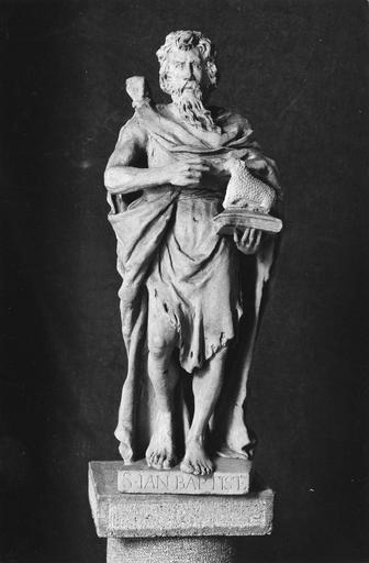 statue : Saint Jean-Baptiste, pierre, 18e siècle