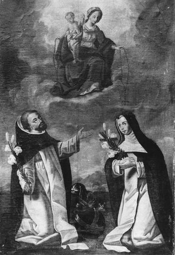 tableau : Vierge du Rosaire et deux personnages, huile sur toile, 18e siècle