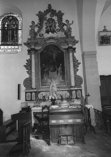 retable latéral avec toile : Le Rosaire, 18e siècle