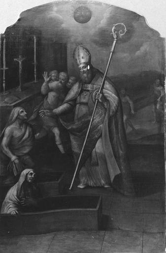 tableau : Saint Martin ressuscitant un mort, huile sur toile par Adrien Richard, 1743, après restauration