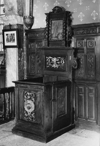 stalle close, bois sculpté polychrome, 1685 1690