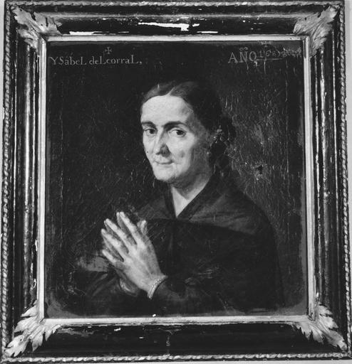 tableau : Isabelle Binétruy Del Corral, huile sur toile, 1685 et son cadre