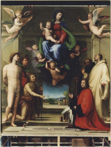 Tableau (panneau peint) : La Vierge aux saints, vue générale