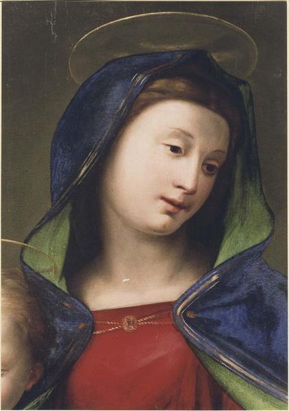 Tableau (panneau peint) : La Vierge aux saints, détail