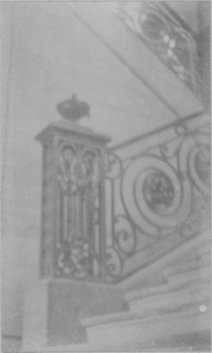 Garde-corps du balcon de la façade et rampe de l'escalier