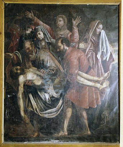 Tableau : 'La mise au tombeau', huile sur toile inspirée par la composition de Caravage