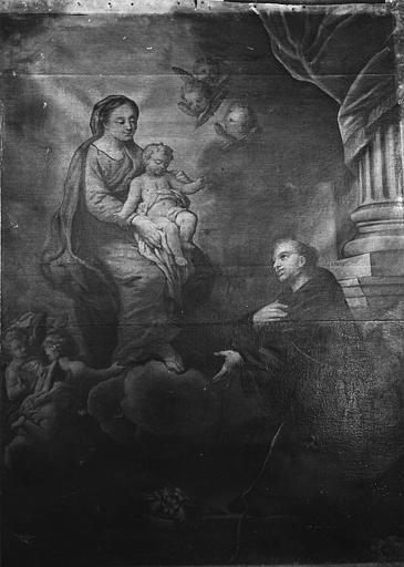 Tableau : 'L'apparition de la Vierge à saint Antoine de Padoue', huile sur toile