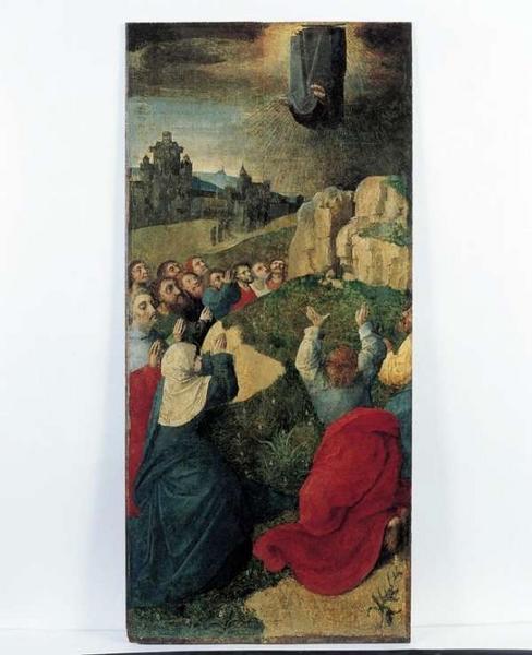 4 panneaux peints, volets d'un polyptyque de la Passion. Volet droit, côté intérieur : l'Ascension.