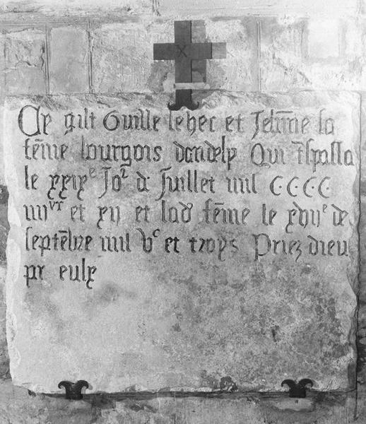 plaque funéraire de Guillaume Lebec ou Lehec, bourgeois d'Andely, et de Jehanne, sa femme, vue générale