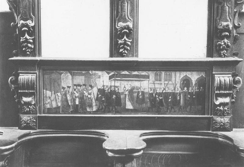 tableau : la Procession de la Fête-Dieu, vue générale