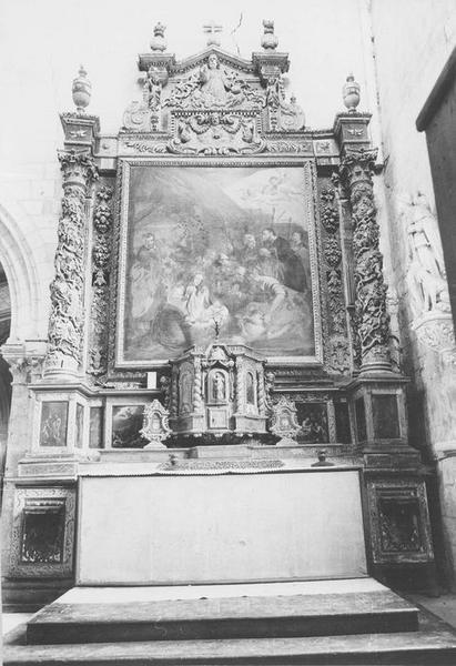 retable du croisillon sud, tabernacle et tableau : l'Adoration des Bergers, vue générale
