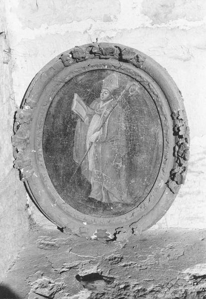 Tableau et son cadre : Saint évêque lisant