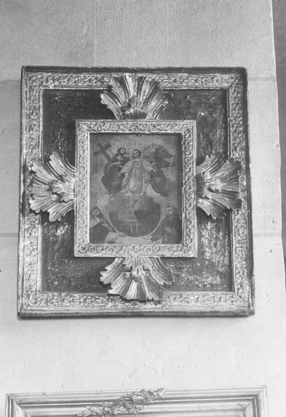 tableau et son cadre : la Trinité apparaissant à saint Dominique et à saint François, vue générale