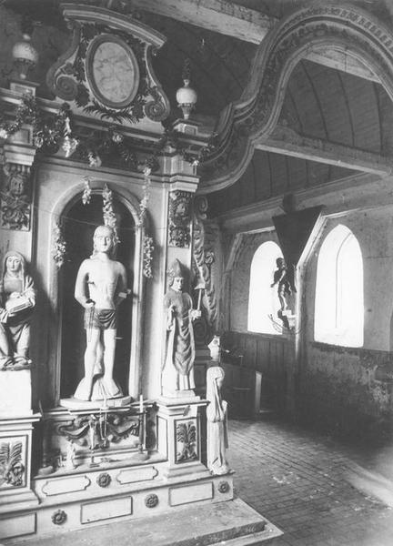 Ensemble des autels secondaires (autels, retables, 2 statues, arc triomphal et tableaux)