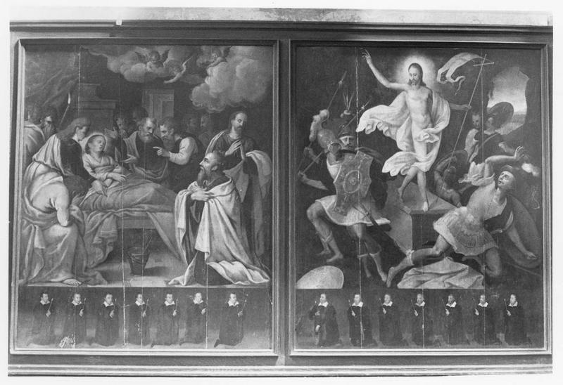 2 tableaux (panneaux peints) : la Dormition de la Vierge, la Résurrection du Christ
