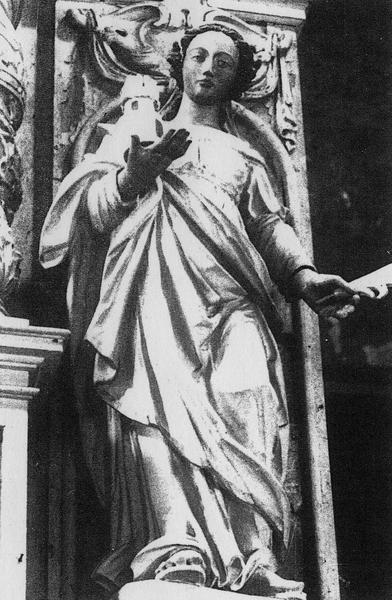 Retable du maître-autel, statue : sainte Barbe, vue générale