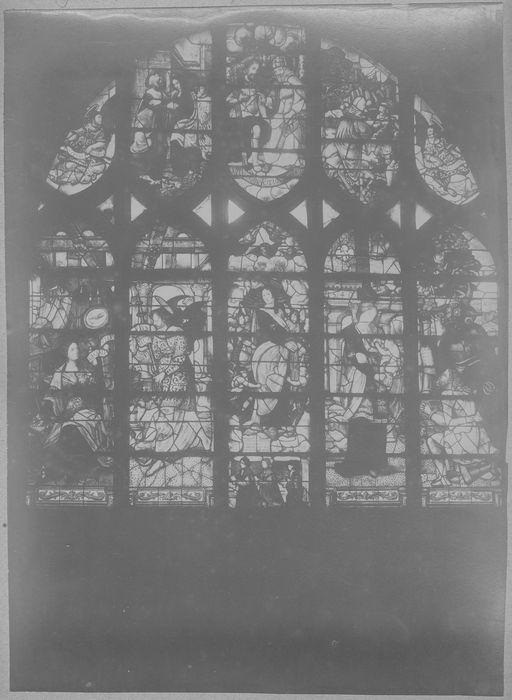 Verrière : l'Annonciation, l'Assomption, Légende de Théophile (baie 18)