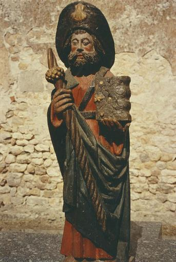 Statue : Saint Jacques, bois polychrome
