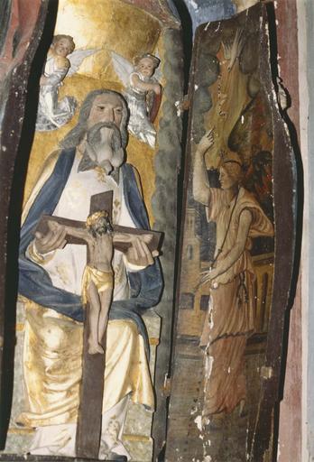 Statue : Vierge à l'Enfant, détail du panneau latéral intérieur, Ange de l'Annonciation