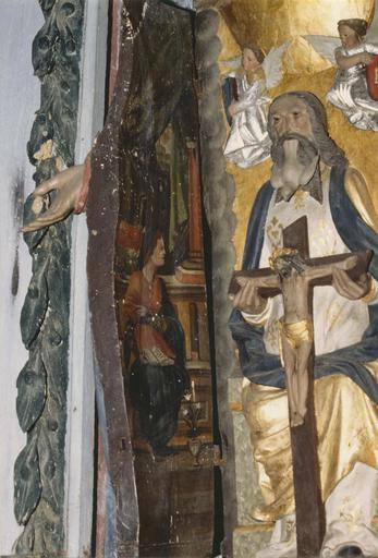 Statue : Vierge à l'Enfant, détail du panneau latéral intérieur, Vierge de l'Annonciation