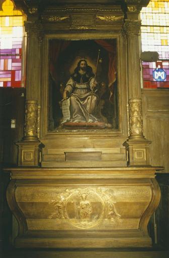 Autel et retable, tableau : Image véritable de saint Jacques de Compostelle, huile sur toile, 18e siècle, statuette de saint Jacques enfermée dnas l'autel, pierre