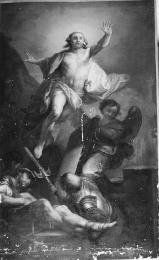 tableau : la Résurrection du Christ, huile sur toile, après rentoilage
