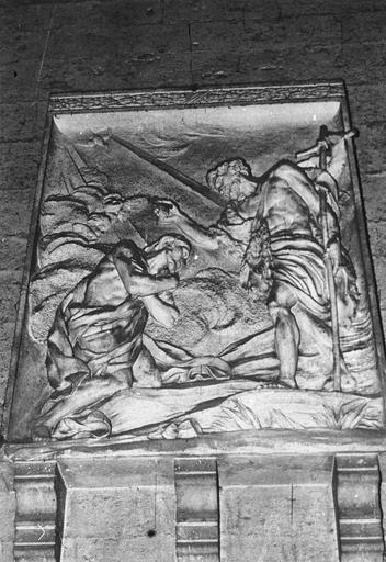 Bas-relief : le Baptême du Christ, pierre, 1769