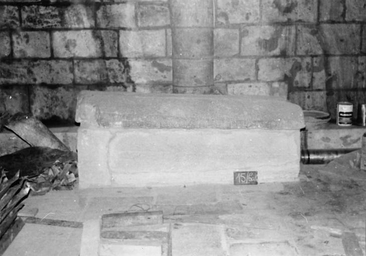 Sarcophage, de saint Calétric, évêque de chartres (557-567), pierre sculptée