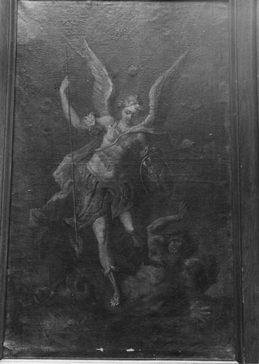 Tableau : saint Michel terrassant le démon, huile sur toile