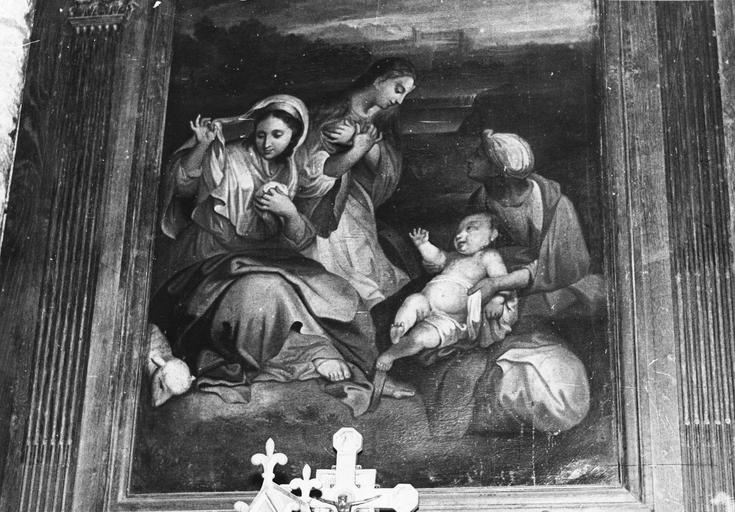 Tableau : La Nativité, huile sur toile, école française (dans la chapelle de Tous-les-Saints)