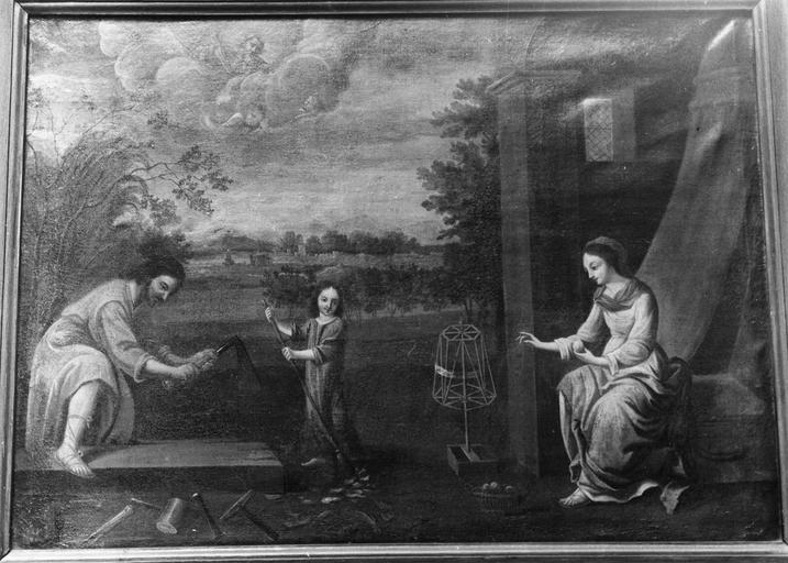 Tableau : La Sainte Famille, huile sur toile