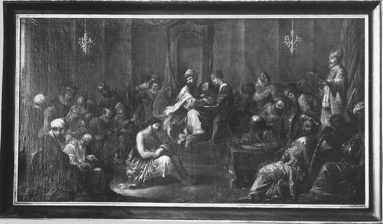 Tableau : le Christ devant Pilate, huile sur toile, vers 1630
