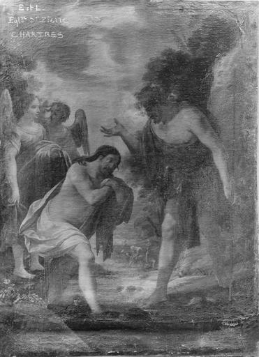 Tableau : Le Baptême du Christ, huile sur toile, école de Vouet