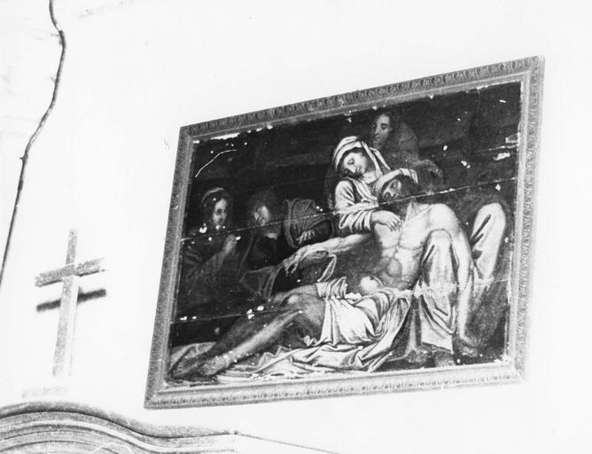 Tableau : Descente de Croix, panneau peint, école française