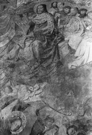 Peinture murale : le Jugement dernier, détail supérieur droit, état actuel