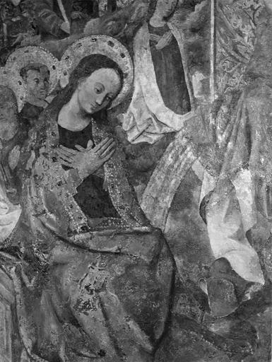 Peinture murale : le Jugement dernier, détail de la Vierge