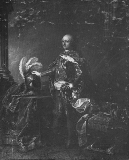 Tableau, cadre : Louis XV en armure, huile sur toile