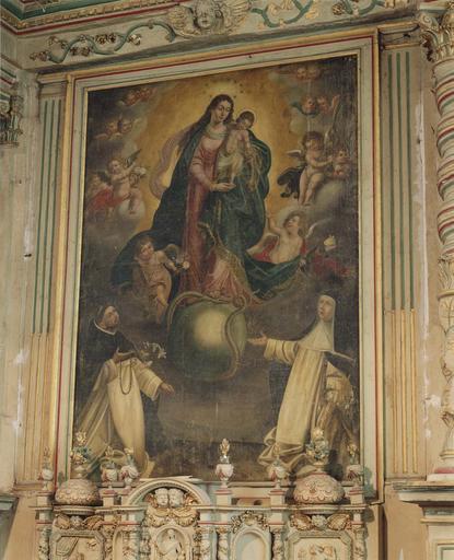Tableau : Vierge du Rosaire, huile sur toile