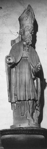Statue : saint évêque, bois