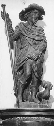 Statue : saint Roch, bois