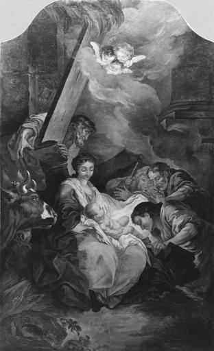 Tableau : L'Adoration des Bergers, huile sur toile