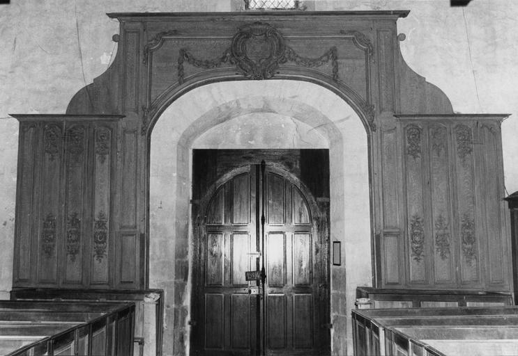 Lambris de revêtement du portail principal, bois, provenant de l'abbaye de l'Eau