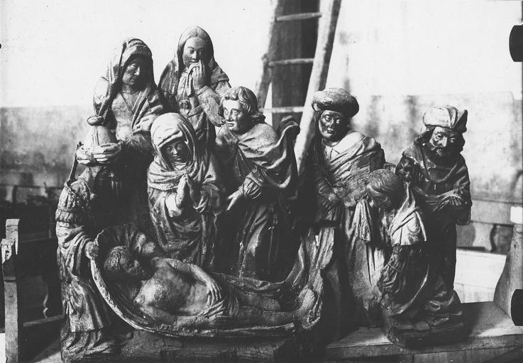 Haut-relief : L' Ensevelissement du Christ, bois