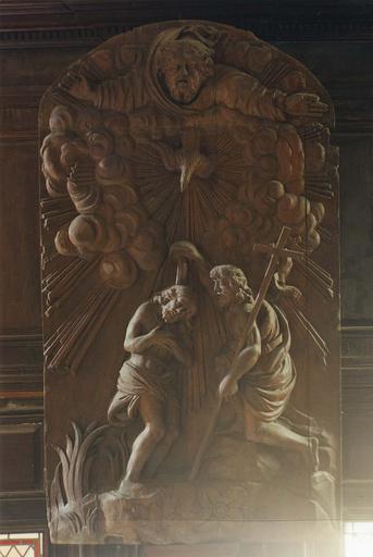Bas-relief du retable des fonts baptismaux : Baptême du Christ, bois sculpté