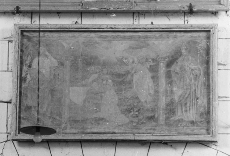 Tableau (triptyque) : l'Annonciation entre sainte Barbe et saint Lubin, 1687