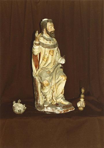 Groupe sculpté : la Nativité ou crèche, roi Salomon