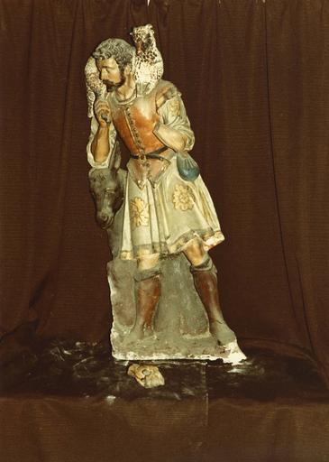 groupe sculpté : la Nativité ou crèche, berger à l'agneau